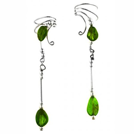 Sterling Silver Left Right Long Dangle Green Peridot Stone Nuggets Ear Cuff Wrap -