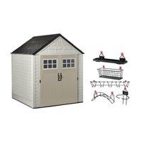 Rubbermaid 7x7 Feet Resin Outdoor Garden Tool Storage Shed & Shelf Accessories