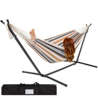 PORTABLE WHITE AND BROWN STRIPED HAMMOCK WITH STEEL STAND & WATERPROOF CARRYING BAG CANVAS DOUBLE HAMMOCK 250 LB. CAPACITY