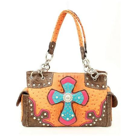 (Nocona Western Handbag Womens Satchel Cross Ostrich N7528626)