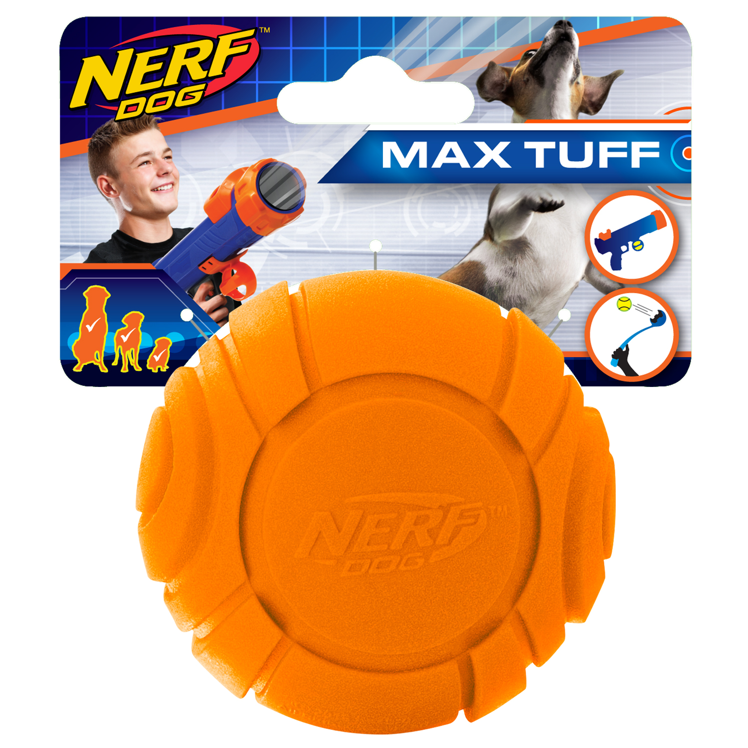 Nerf Dog 2.5in Solid Foam Sonic Ball - Orange, Dog Toy