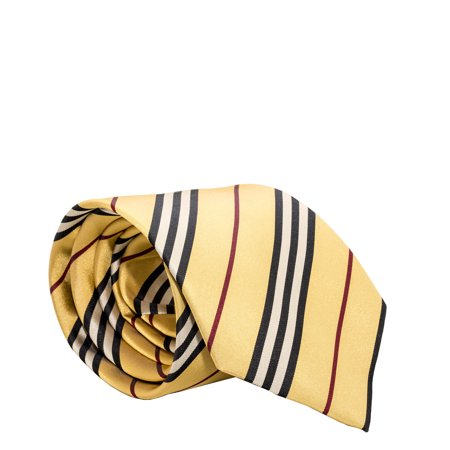 Burberry London Mens Necktie Classic Diagonal Stripe Pattern Wide Cut Silk Tie (Diagonal Yellow/Black/Red)