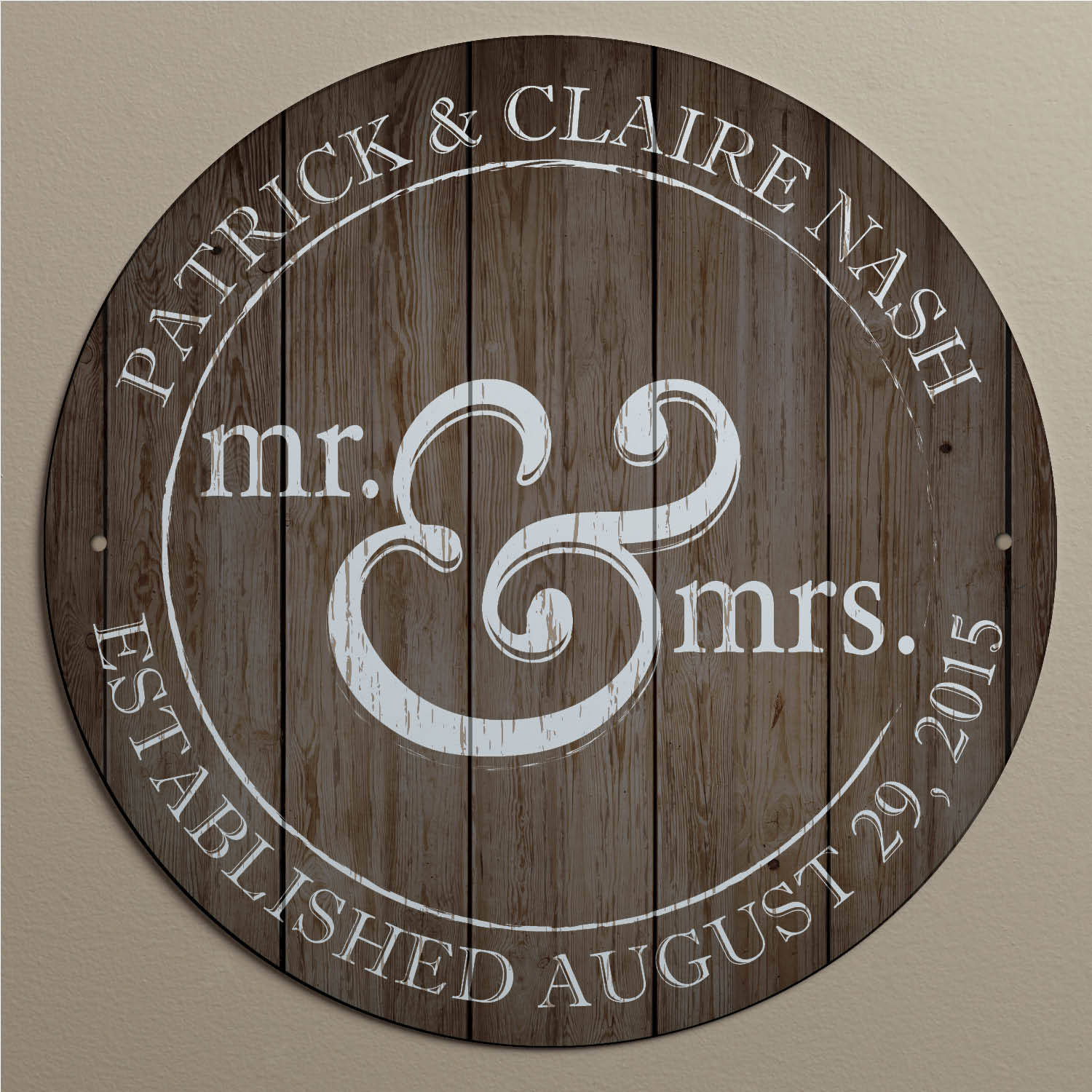 Personalized mr and mrs wedding gift metal sign