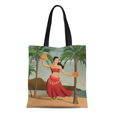 Palm Tree Hula Girl (SIDONKU Canvas Tote Bag Hawaii Hawaiian Vintage Hula Girl Palm Trees Tropical Flowers Reusable Handbag Shoulder Grocery Shopping Bags )