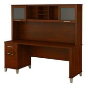 Bush Furniture Somerset 72W Office Desk with Hutch in Hansen Cherry