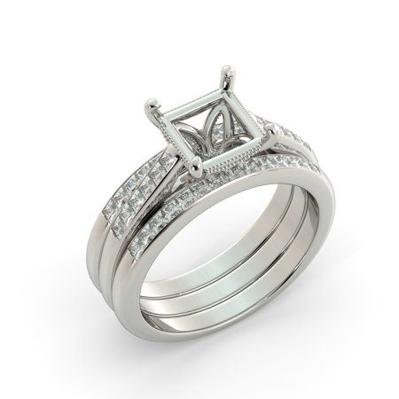 Platinum Semi Set (Princess Semi Mount Bridal Set 2 Matching Engagement Diamond Band Platinum )