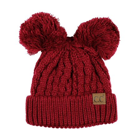 - C.C 2 Ear Pom Pom Cable Knit Soft Stretch Beanie