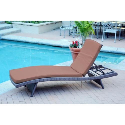 Jeco Wicker Adjustable Chaise Lounger with Cushions Set of 4 by Overstock