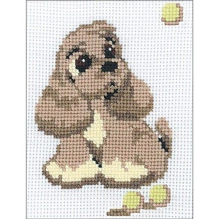 Cocker Spaniel Needlepoint - 6 x 7.25 in. Cocker Spaniel Counted Cross Stitch Kit - 10 Count