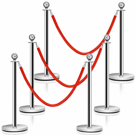 Costway 6Pcs Stanchion Posts Queue Pole Retractable 3 Velvet Ropes Crowd Control Barrier (Crowd Control Warehouse)