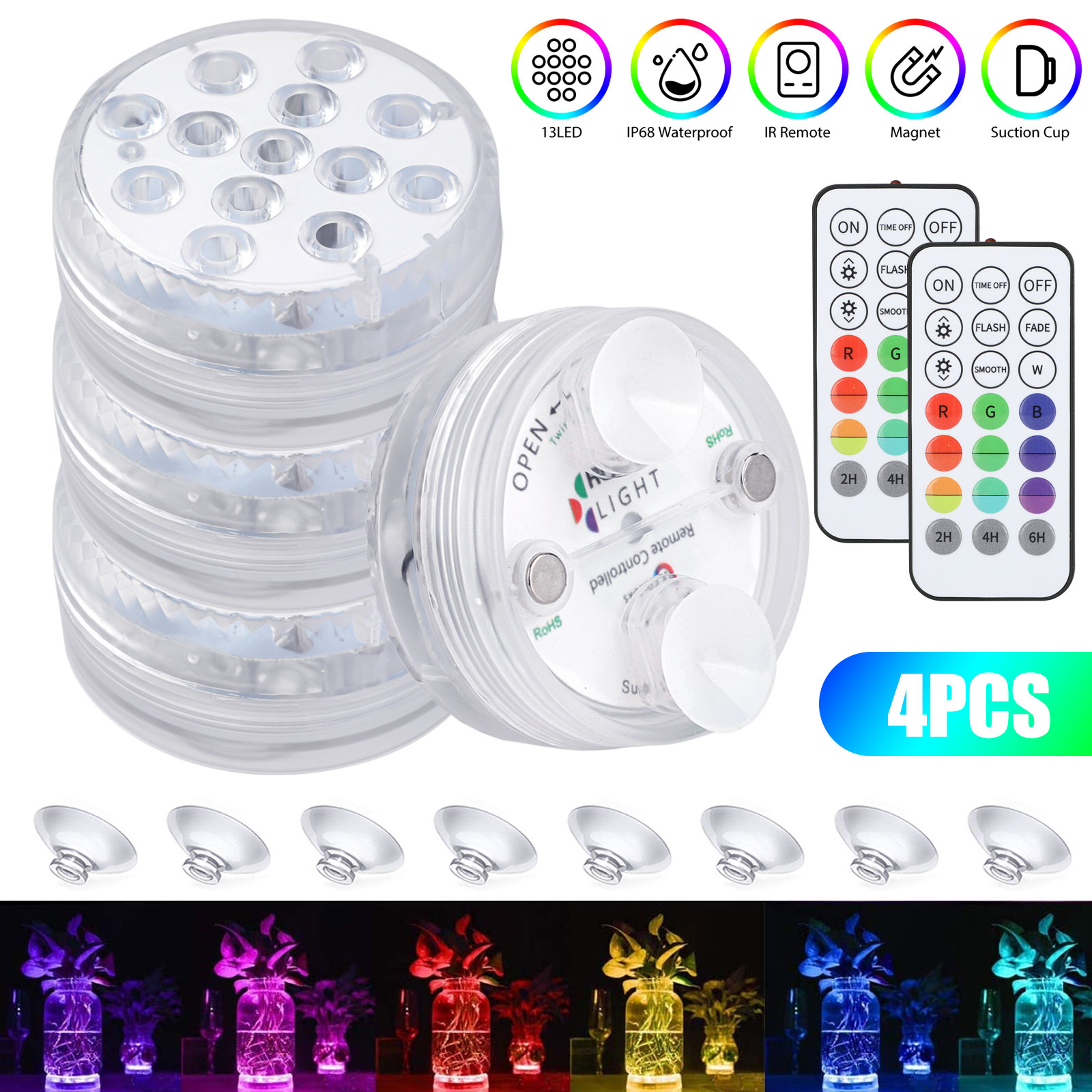 Suction Cups 4 Packs ,16 RGB Color Changing Underwater Lights for Ponds with Magnets Zorara Pool Lights for Above Ground Pools Waterproof Submersible LED Lights with Remote RF 164FT