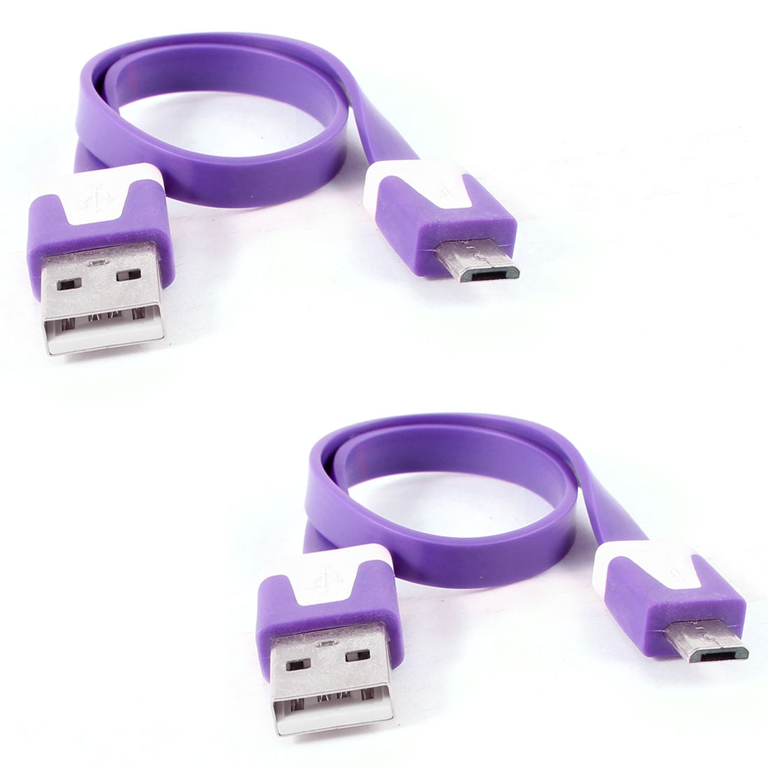 2pcs Purple USB2.0 A to Micro B 5Pin M/M Data Charger Flat Cable for HTC
