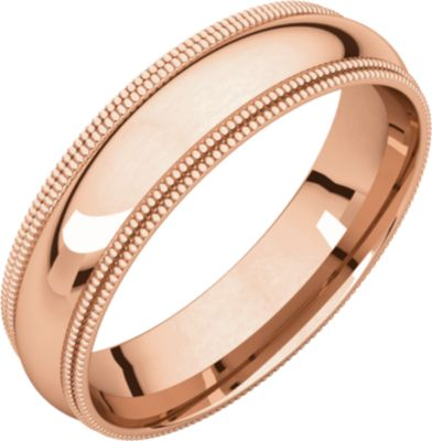 Roy Rose Jewelry 14K Rose Gold 5mm Double Milgrain Comfort Fit Wedding Band Ring Size 10.5