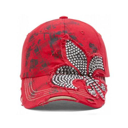 TopHeadwear Beaded Fleur-de-lis Distressed Adjustable Baseball Cap