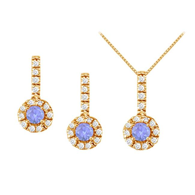 Fine Jewelry Vault UBUNERPD31791AGVYCZTZ400 December Birthstone Tanzanite with CZ Halo Earrings and Pendant in 18K Yellow Gold Vermeil