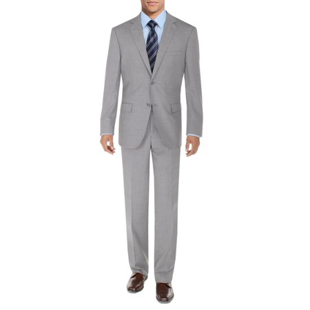 DTI BB Signature Men's Suit 2 Button Modern Fit Side Vent Jacket Flat Front Pant Silver