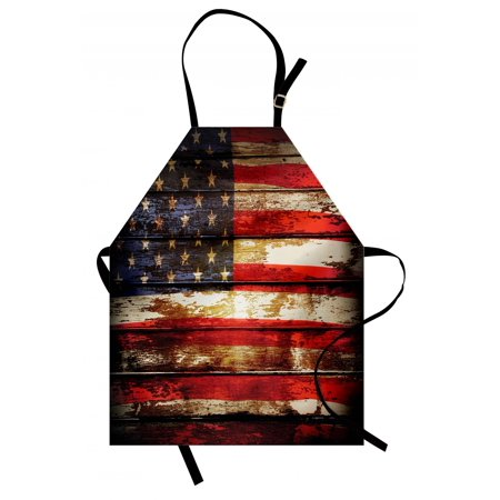 - American Flag Apron Us Symbolism over Old Rusty Tones Weathered Vintage Social Plank Artwork, Unisex Kitchen Bib Apron with Adjustable Neck for Cooking Baking Gardening, Multicolor, by Ambesonne