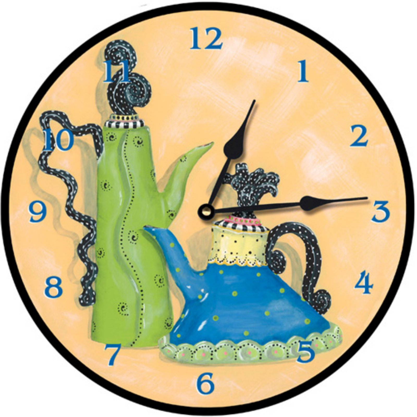 Lexington Studios Whimsical Tea Pots Wall Clock