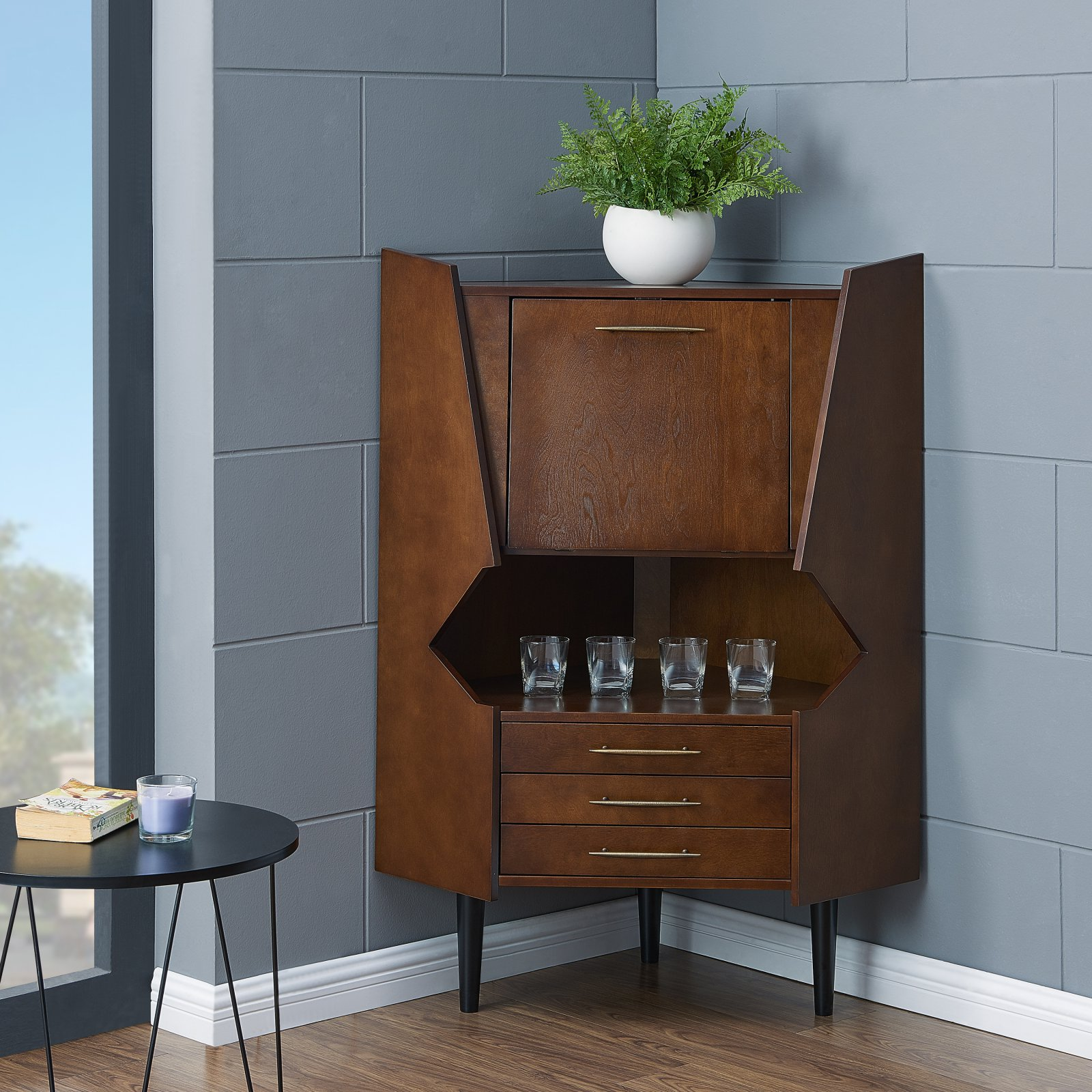 Southern Enterprises Lohell Corner Bar Cabinet