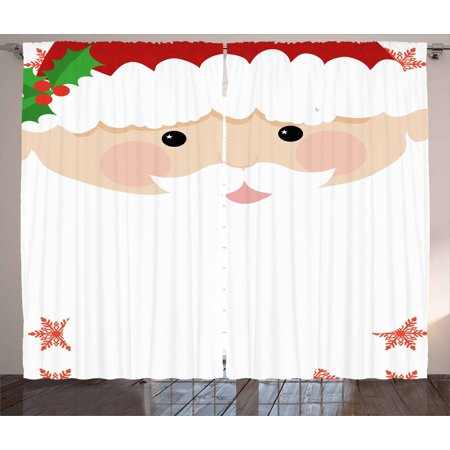 Kids Christmas Curtains 2 Panels Set, Cartoon Face of Santa with Pink Cheeks White Beard and Mistletoe on His Hat, Window Drapes for Living Room Bedroom, 108W X 84L Inches, Multicolor, by Ambesonne for $<!---->