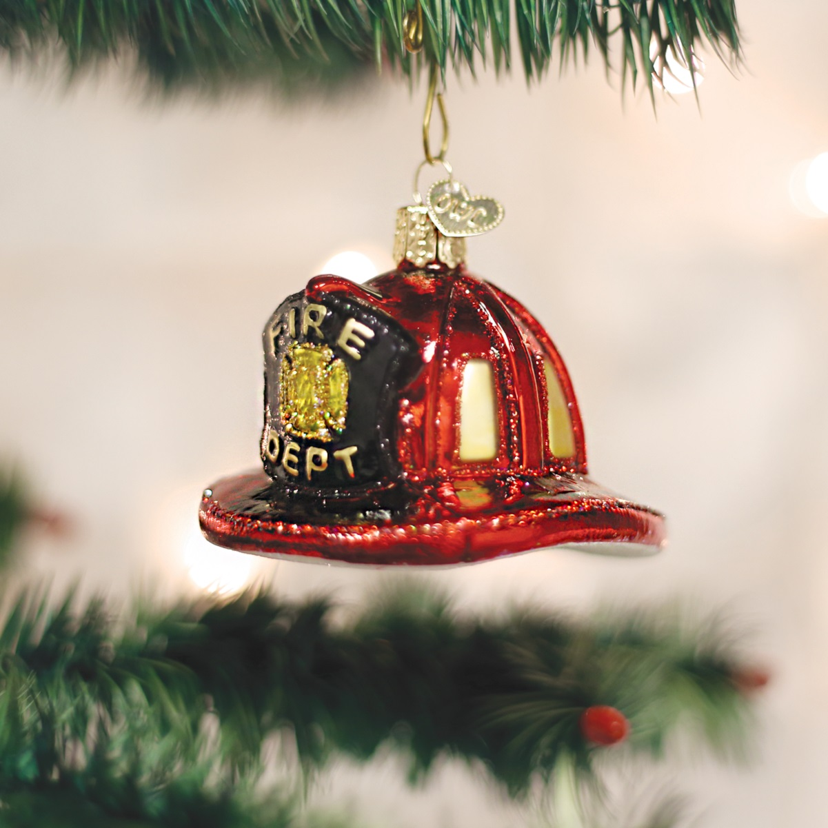 Old World Christmas Firemans Helmet Glass Tree Ornament 32225 FREE BOX New