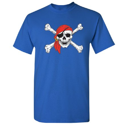 Jolly Roger Skull & Crossbones Men's T-shirt Royal Blue - Skull Crossbones