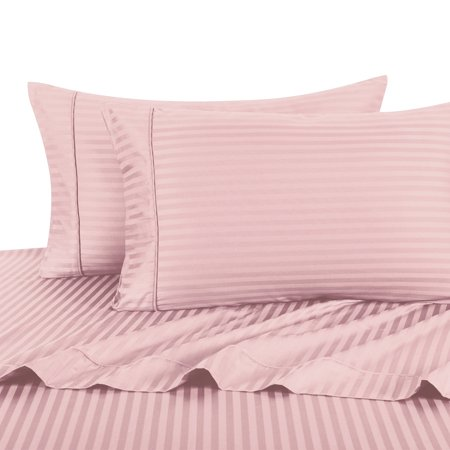 - 100% Cotton Sateen Bed Sheet Set 300 Thread Count Damask Striped - California King-Blush