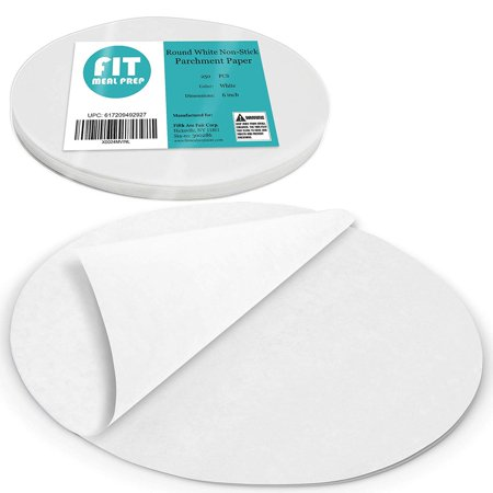 [250 Pack] 6 Inches Non-Stick Parchment Paper - Round White Baking Sheets, Wax Paper Liners for Cake Pan, for Steamer, Fryer and Oven, for Cakes, Cheesecakes, Pizza, Cookies, Meats and Vegetables
