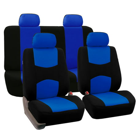 Blue Seat - FH Group Universal Flat Cloth Fabric Car Seat Cover, Full Set, Blue and Black