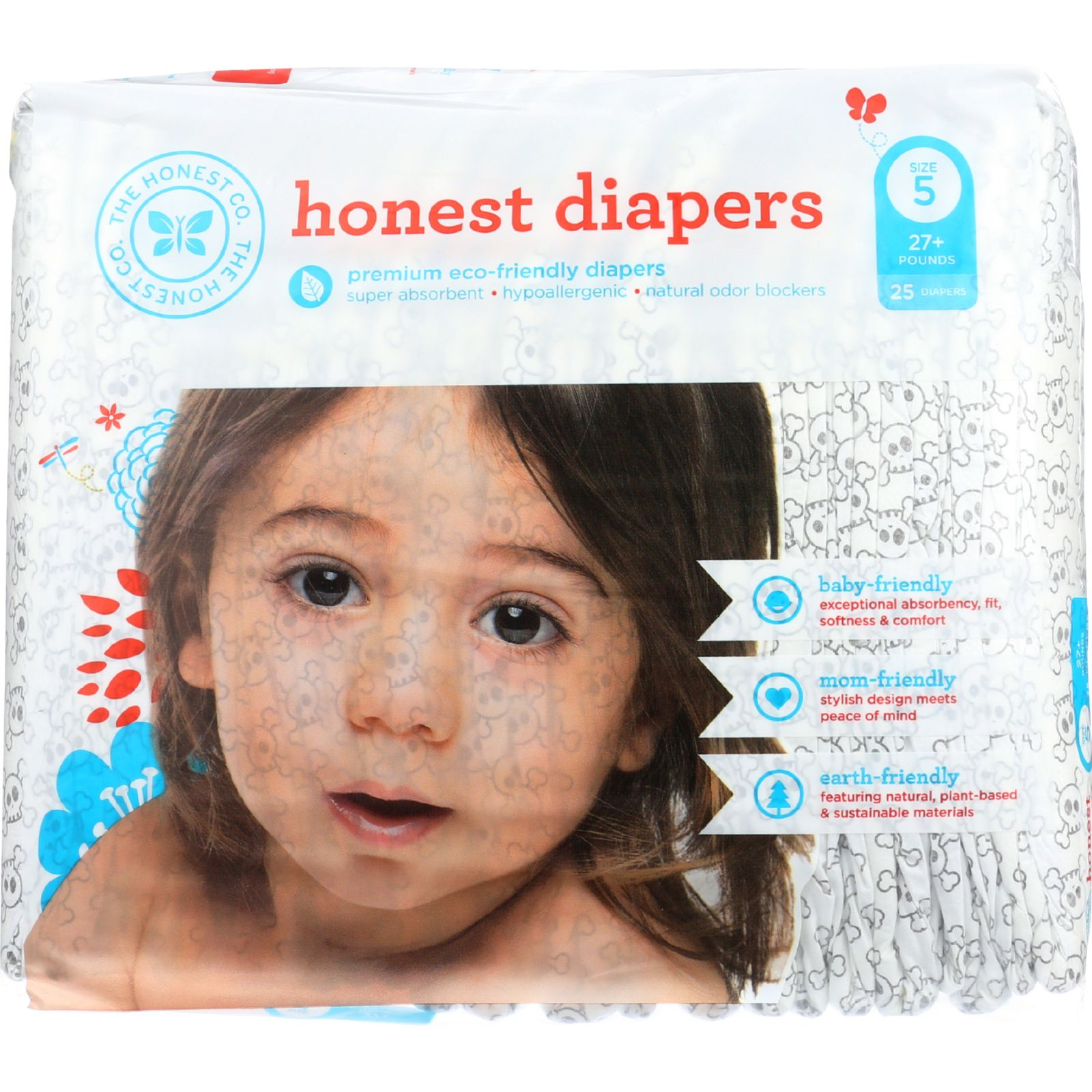 The Honest Company Diapers - Skulls - Size 5 - Children 27 plus lbs - 25 count - 1 each