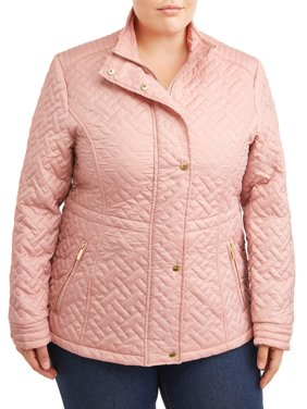 Big Chill Women's Plus Size Basketweave Quilted Anorak Jacket