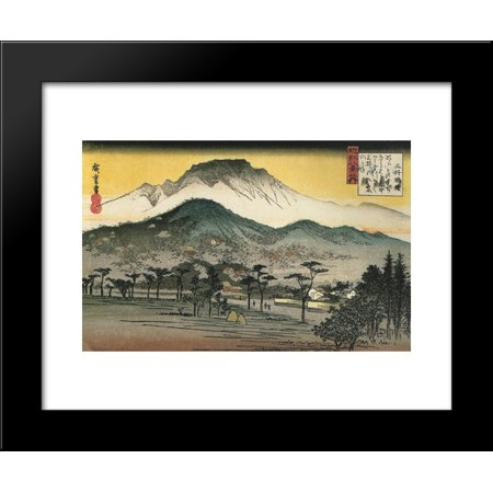 Acetate Temples Frame - Evening view of a temple in the hills 20x24 Framed Art Print by Hiroshige