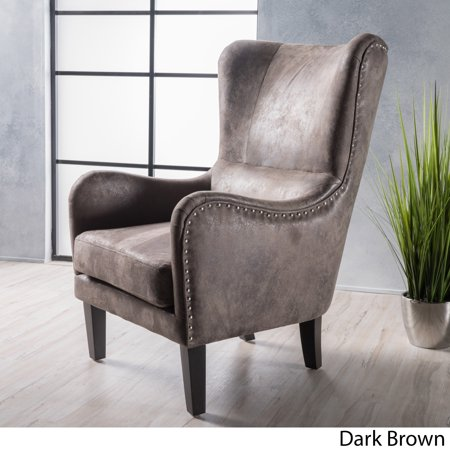 christopher knight home lorenzo high back studded fabric club chair