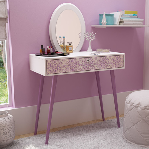 Accentuations by Manhattan Comfort Mora 35.43in. Vanity with Mirror in White and Lavender
