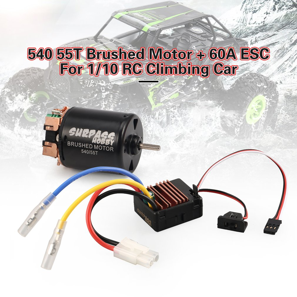 540 55T Brushed Motor 60A ESC for Axial SCX10 RC4WD D90 1/10 RC Crawler Car