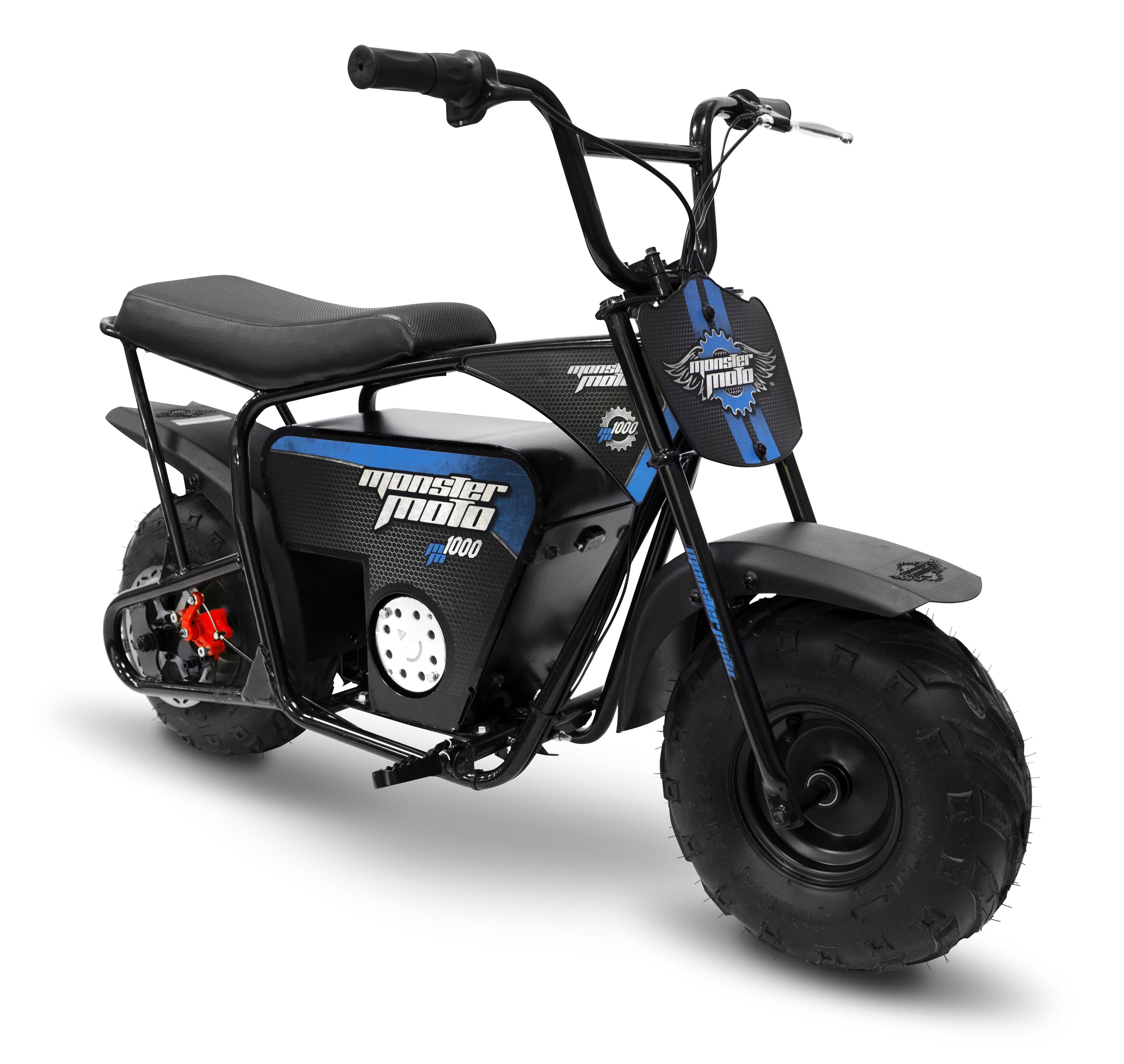 Monster Moto Electric Mini Bike 1000 Watts - Black with Blue Decals