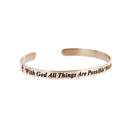 Christian Bible With God All Things Are Possible Adjustable Cuff Bracelet Wristband Bangle