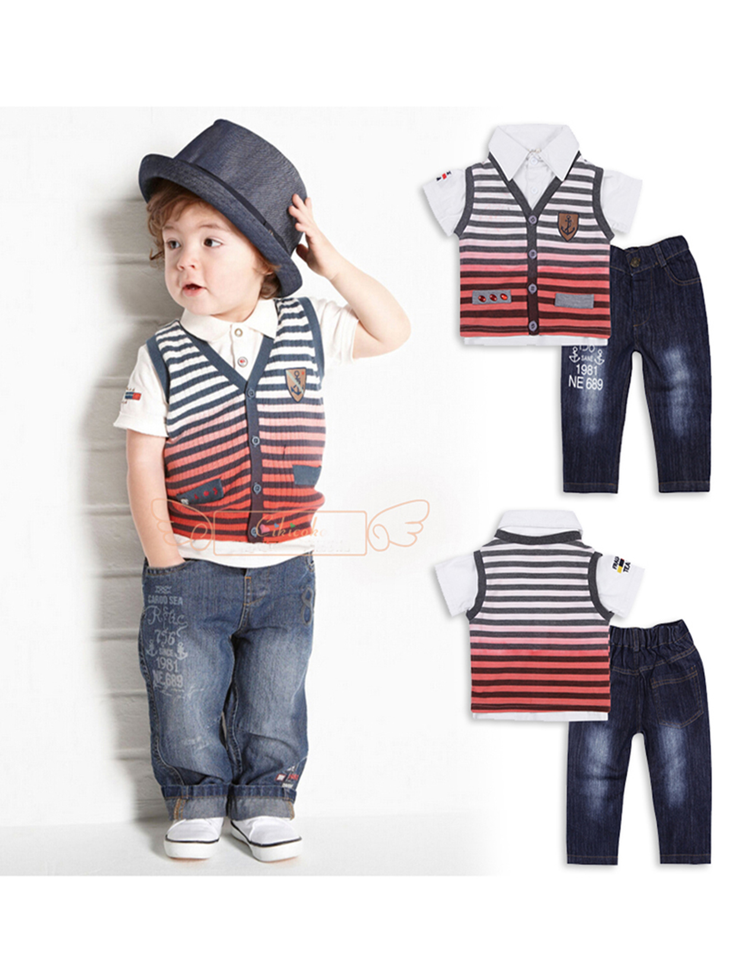 StylesILove Baby Boy T-shirt, Striped Vest and Jeans 3-pc (3-4 Years)