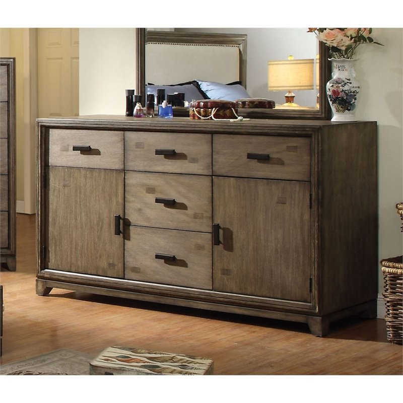 Furniture of America Muttex 5 Drawer Dresser in Natural Ash