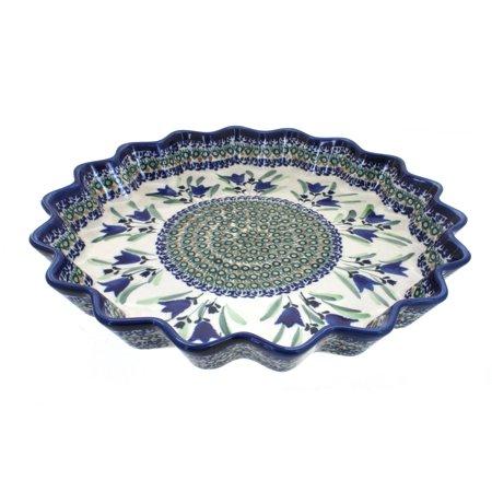 Polish Pottery Blue Tulip Large Fluted Quiche Dish