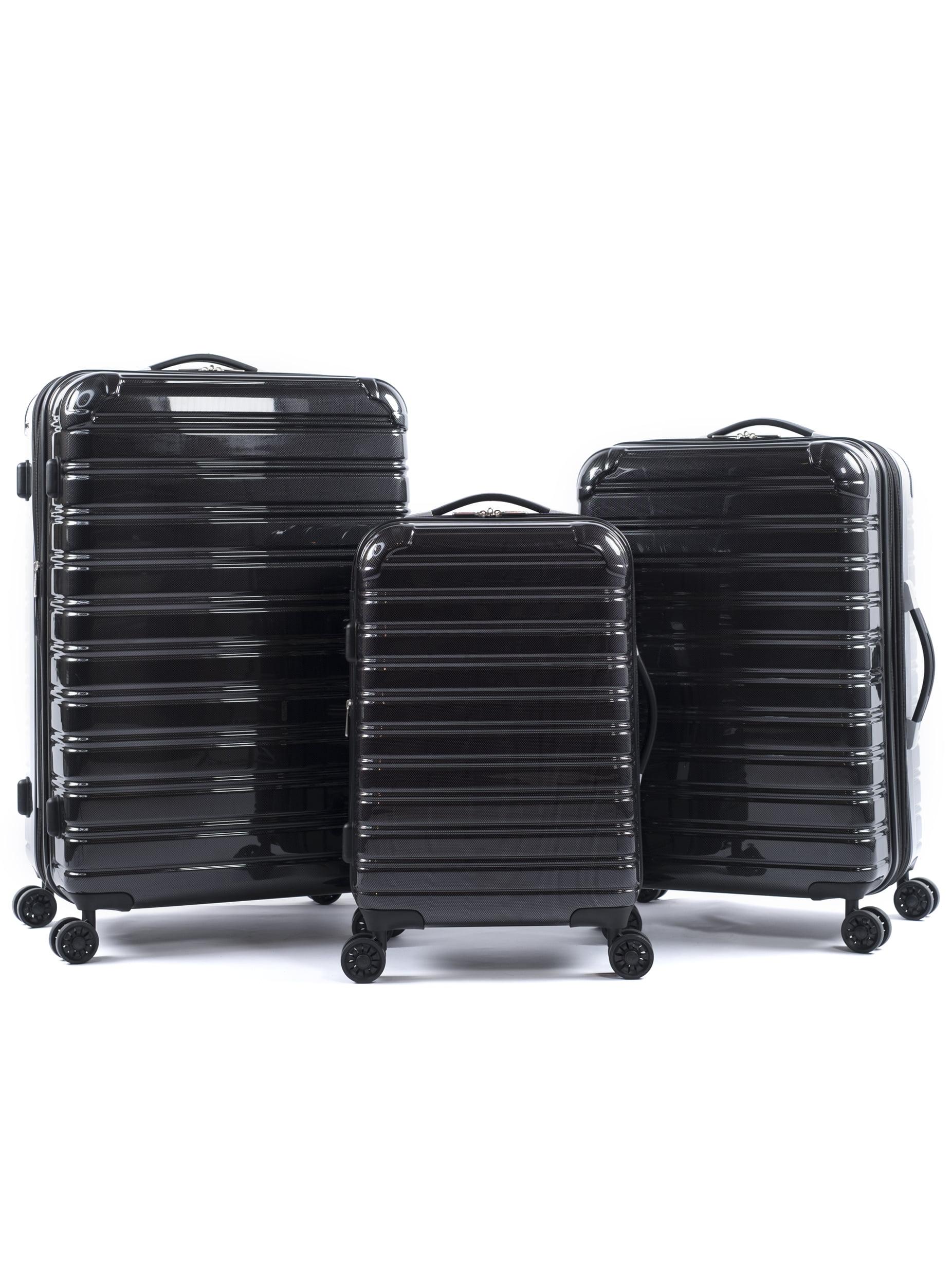 iFLY Hardside Fibertech Luggage 3 Piece Set, 20 Inch Carry-on, 24 Inch Checked Luggage and 28 Inch Checked Luggage, Black