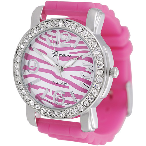 Brinley Co. Women's CZ Accented Silicone Watch
