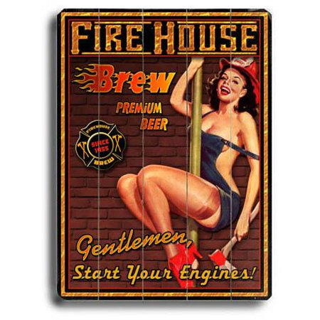 "ArteHouse Decorative Wood Sign ""Firehouse Brew"" by Artist Kate Ward, 30"" x 40"", Planked Wood"