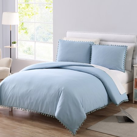 Mainstays 3-Piece Teal Pom Pom Duvet Cover Set, Full/Queen ()