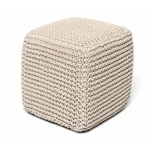 Jana Ivory Jute Pouf Square Cube Ottoman
