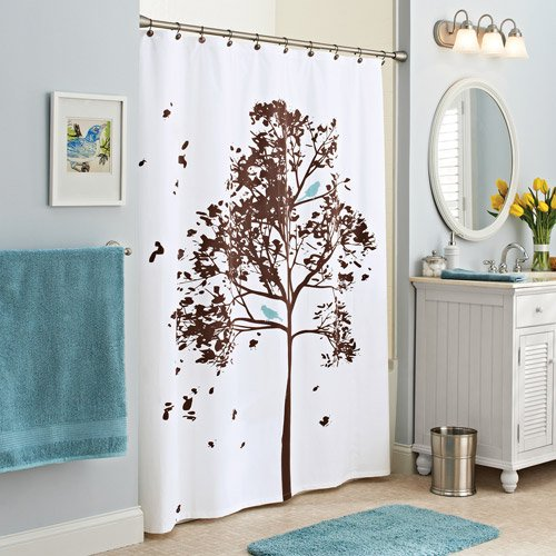 Better homes and gardens farley tree fabric shower curtain for Better homes and gardens shower curtains