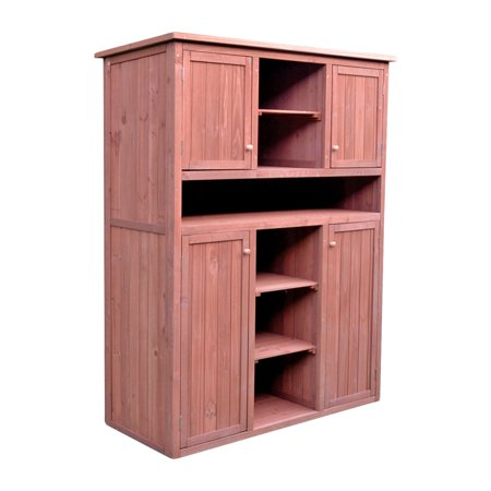 Leisure Season Tall Display and Hideaway Storage Cabinet