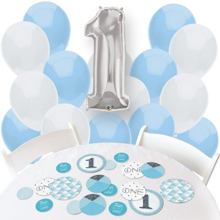 First Birthday Boy Decorations (fun to be one - boy 1st birthday - confetti and balloon birthday decorations - combo)