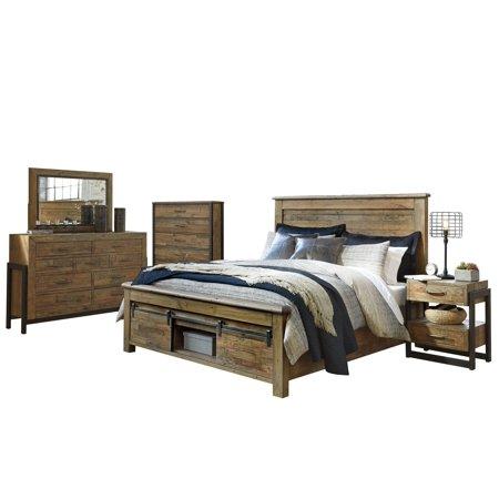 Ashley Furniture Sommerford 5 PC Bedroom Set: Cal King Panel Bed 1 ...