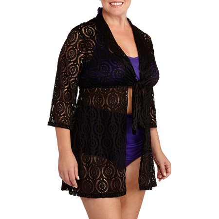 Women S Plus Size Crochet Tie Front Tunic Swim Cover Up